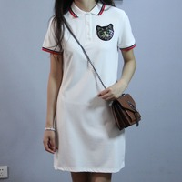 Women's Summer Dress Up Embroidered Polo Casual T Shirt Dress Polo Lapel Short Sleeve Dress size S XL