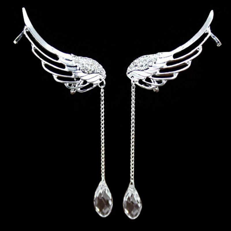 2020 moda altın kadınlar için küpe sarkan Charm zarif melek kanadı kristal küpe bırak Dangle kulak damızlık manşet klip z70
