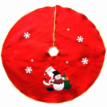 "35.4"" Round Non-Woven Quality Christmas Tree Skirt With Gold Trim Santa Claus Embroidery Xmas Tree Carpet Apron Decoration 140g"