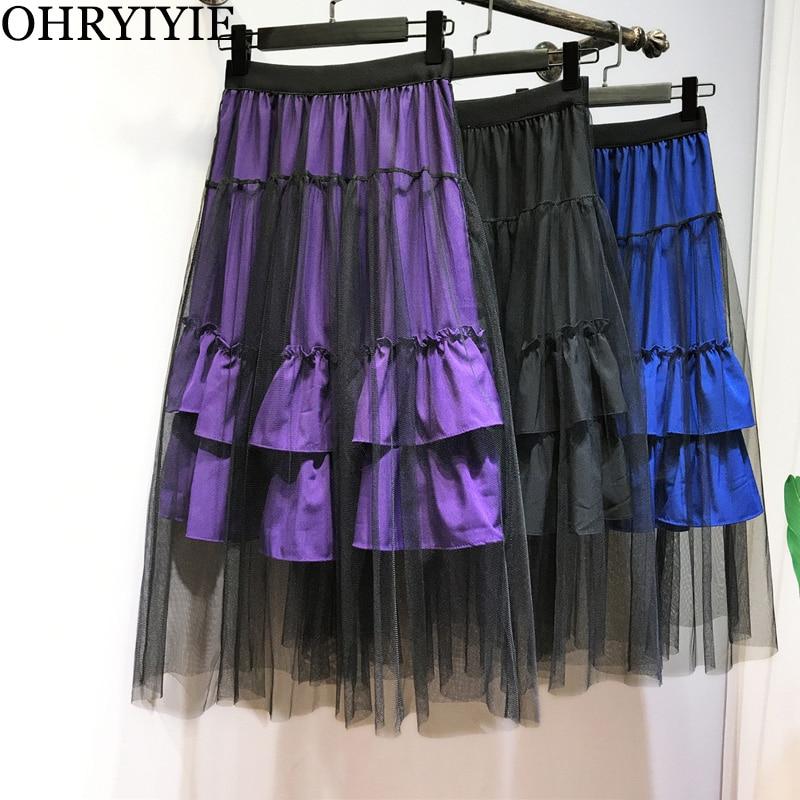 dc093bfadc Comprar OHRYIYIE 2019 Nueva Moda Coreana Negro Azul Púrpura Vestido ...