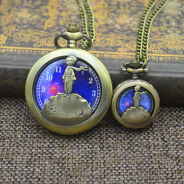 Fashion NARUTO Pocket Watch Blue Planet Women Necklace Exquisite The Little Prince Design Fob Watches Relogio De Bolso Xmas Gift