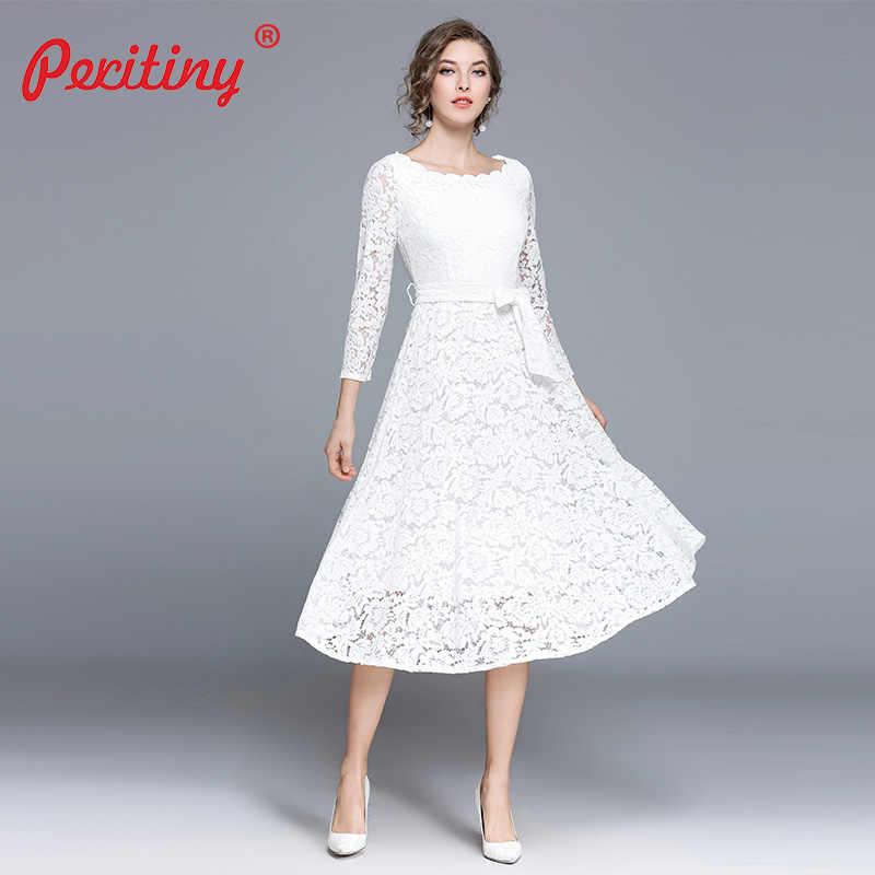 75be0b379ae1 Peritiny White Lace Dress Women Casual Slash Neck Autumn Winter vestido  branco Knee-Length Elegant