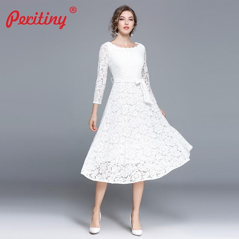 7642cf9783c4 Peritiny White Lace Dress Women Casual Slash Neck Autumn Winter vestido  branco Knee-Length Elegant Black Party Dresses with Belt
