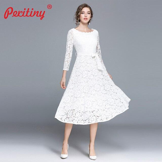 8647a44a22d9 Peritiny White Lace Dress Women Casual Slash Neck Autumn Winter vestido  branco Knee-Length Elegant