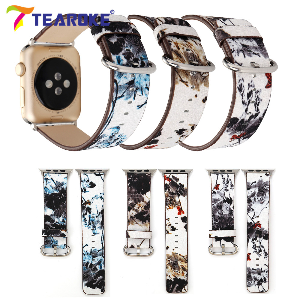 Chinese Ink Painting Fabric Leather Watchband For Apple Watch 38mm 42mm Antique Lotus Flowers Women Men Band Strap for iwatch скребок для швов плитки kwb 0301 00