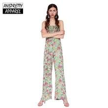 017737c4152 Anspretty Apparel summer wide leg jumpsuit women strap floral boho jumpsuit  elastic bust sexy romper lolita