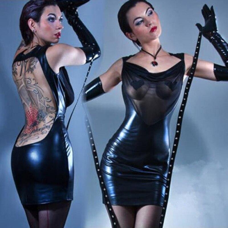 Vocole Sexy Gothic PVC Mesh Chest Backless Dress Bodycon Fetish Black Vinyl Mini Dress Nightclub Clubwear