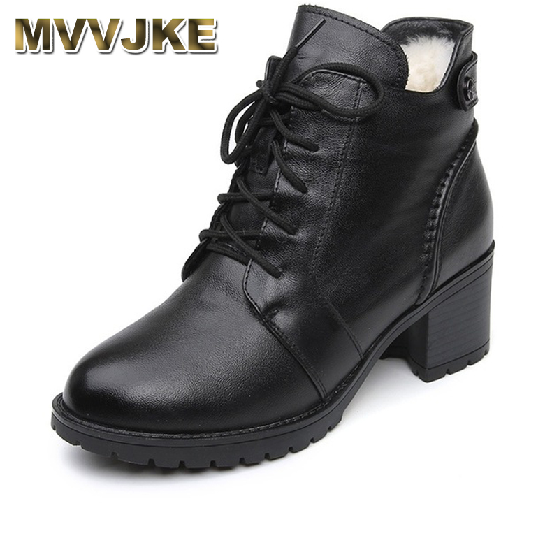 MVVJKE Comfortable Soft Genuine Leather Winter Boots 2018 Fashion Women Ankle Boots Casual High Heels Shoes Female Snow Boots mvvjke 2018 spring summer new bow genuine leather women boots hollow mesh ankle boots comfortable low heels fashion shoes