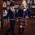 Primavera moda inverno coreano britânico uniforme da escola para meninas & meninos Camisola crianças casaco Xadrez saias curtas crianças 5 peças conjuntos