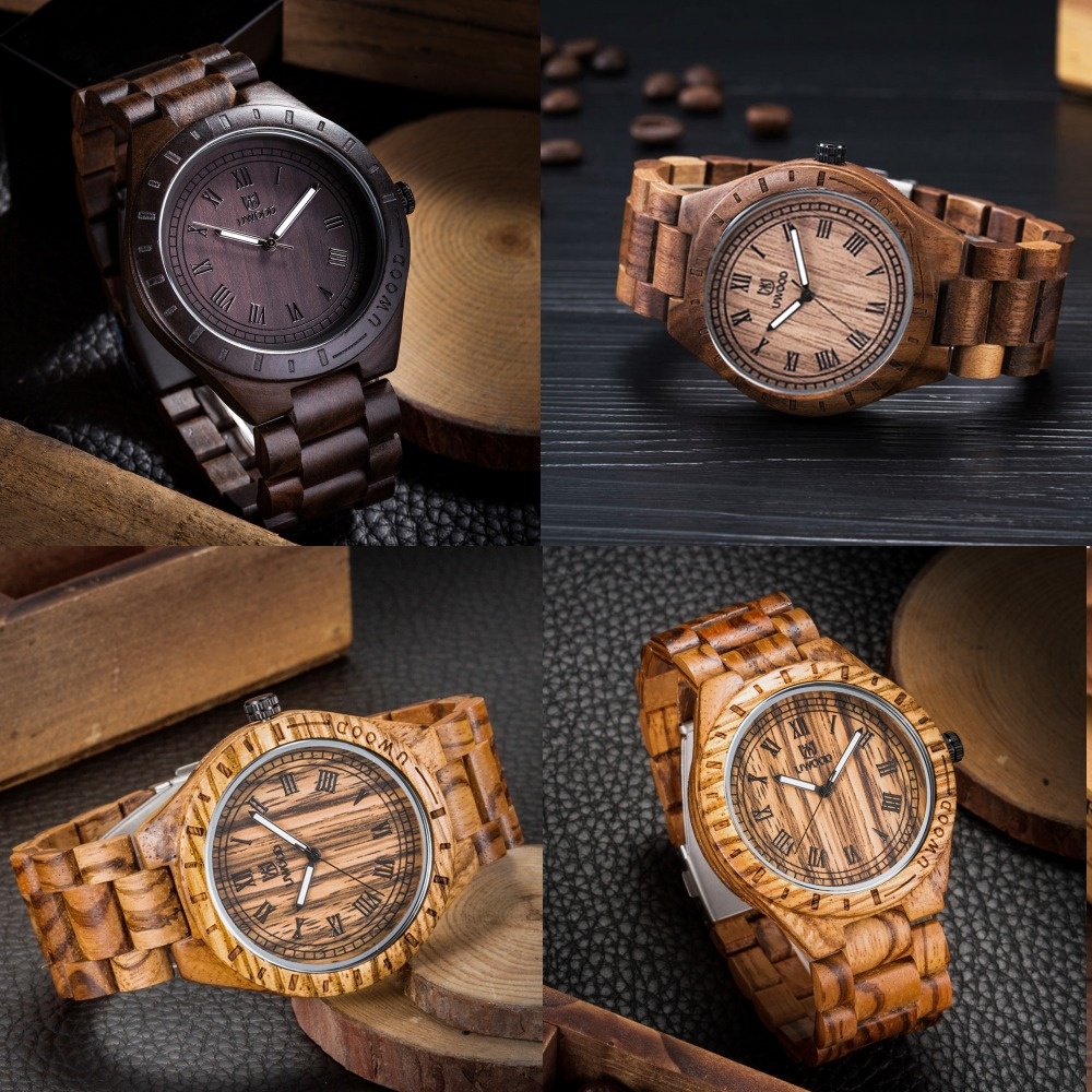 Men`s wood Wristwatches UWOOD Quartz casual watches for man famous brand wood watch chrismas gift natural fashion wood watch men