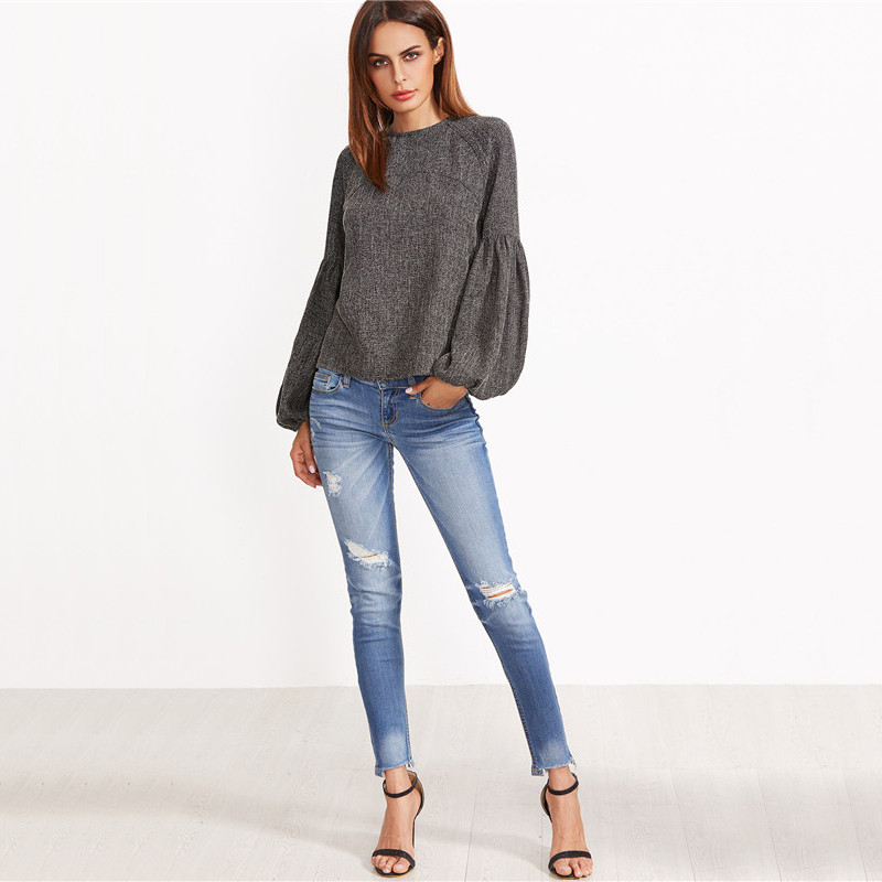 HTB1wJ XOVXXXXbLXVXXq6xXFXXXX - Women Shirt Ladies Grey Lantern Long Sleeve Blouse