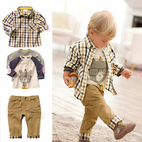 Anlencool Sıcak 3 adet erkek bebek giyim boys suit giysileri çin kafes bahar ceket bebek mont beyaz uzun gömlek erkek pantolon