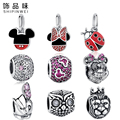 100% Authentic 925 Sterling Silver Cute Minnie & Miky Charm Beads Fit Pandora Bracelet Pendants DIY Original Jewelry