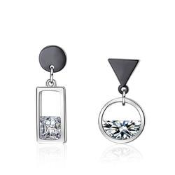 XIYANIKE 925 пробы серебряные серьги Весна вода пистолет серебряного цвета круг квадратная Асимметричная Серьга для женщин подарок на свадьбу