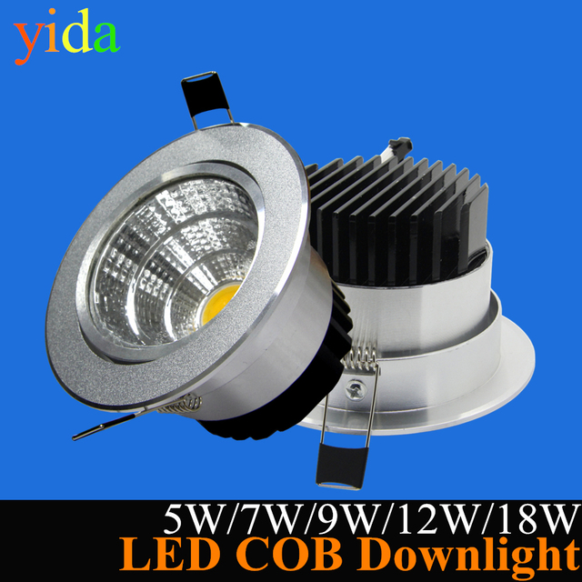 New Silver Dimmable COB Downlight 5W 7W 9W 12W 18W LED Recessed Ceiling Light Spot Light Lamp White Warm white Indoor Lighting