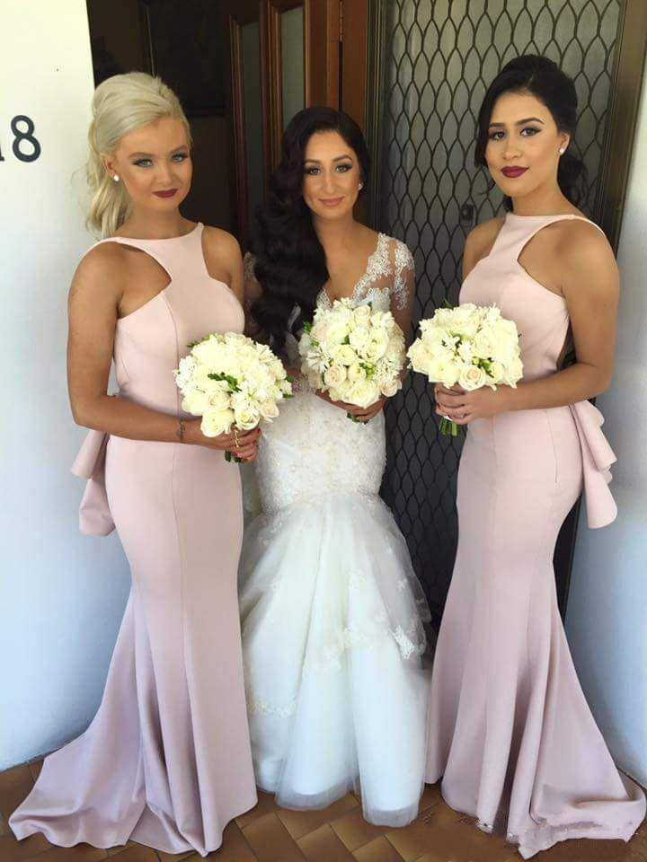 2019 new Blush Satin Mermaid Bridesmaid Dresses Sexy Backless Hips Tiered Sweep Train Maid Of Honor Dress Plus Size Custom Made