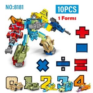 Image 2 - 10PCS Action Figure Transformation Number Robot Toy Building Blocks Deformation Pocket Morphers Educational Toy for Children