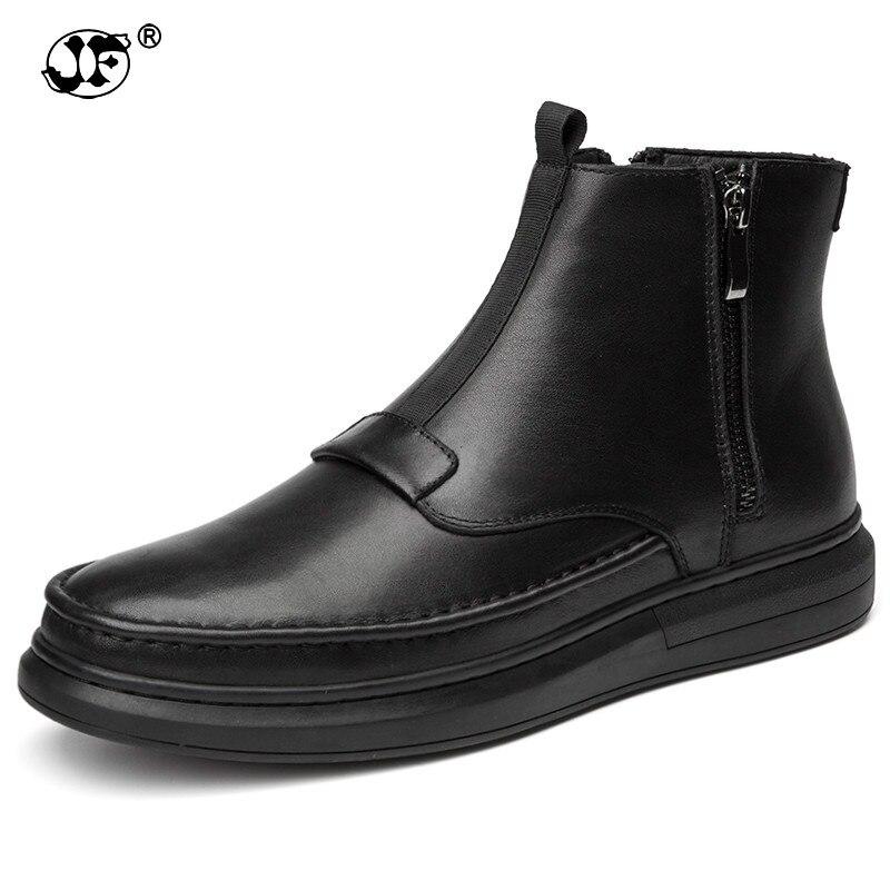 купить Winter New Handmade Genuine Leather Men Snow Boots Fashion Deign Slip on Keep Warm Men Ankle Boots Flats Boots Men Footwear896 онлайн