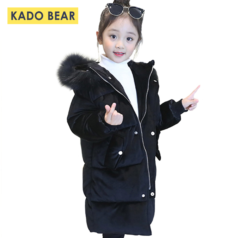 Girls Winter Coats 2018 Hooded Fur Collar Warm Boys Down Jackets Long Sleeve Thick Kids Long Clothes Baby Velour Zipper Snowsuit girls thick winter down coat fur collar warm kids jackets fashion hooded baby girl long coats zipper outerwear children clothes