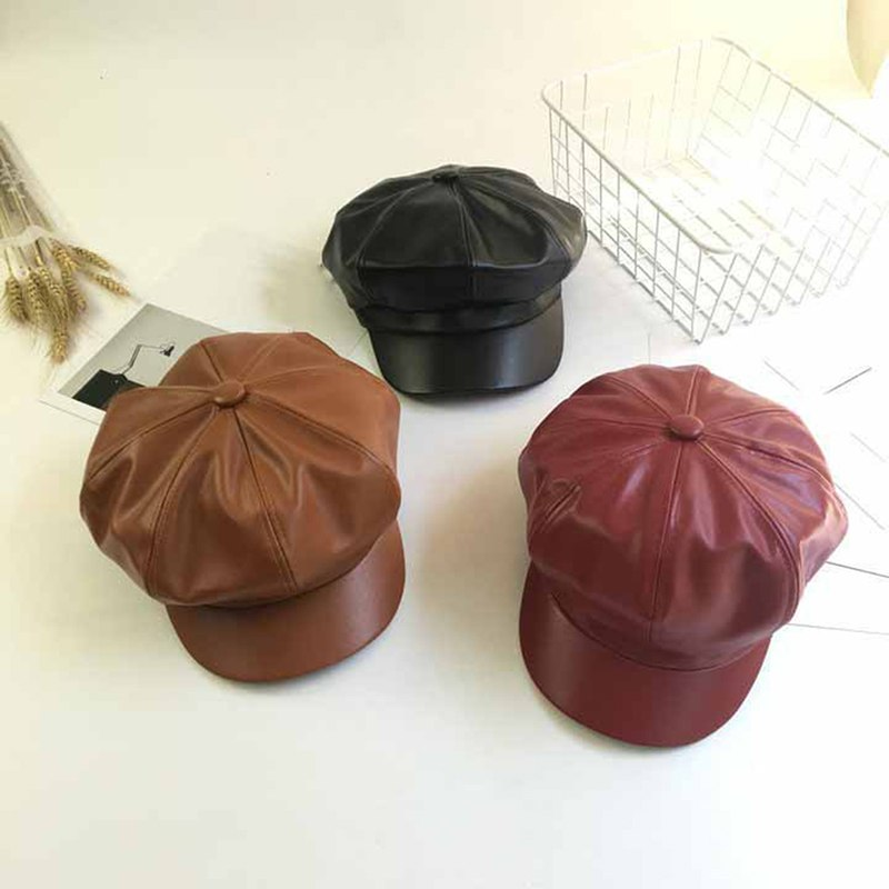 Fall Winter New Fashion Women Solid Color PU Leather Caps Octagonal Cap Casual Vintage Hats Newsboy Cap For Women Casquette