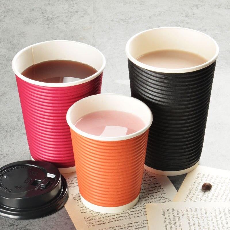 50 шт. одноразовая кофейная чашка бумага Толстые двойной изоляцией Хлопок молоко чай Упаковка чашки полые горячий напиток пакеты с крышками