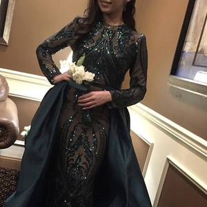 Image 4 - Green 2019 Muslim Long Sleeves Mermaid Evening Dress Appliques Sequined Train Arabic Kaftan Prom Dresses Party Gowns OL103347