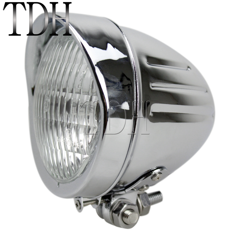 Motorcycle Chrome H4 12V 60/55W Retro Headlight Front Head Lamp High/Low Light For Harley Softail Dyna Chopper Cafe Racer