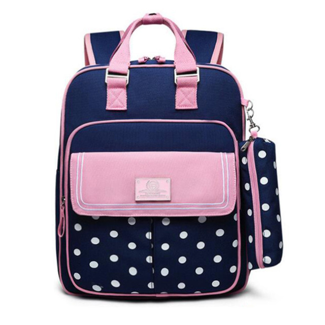 Polka Dot Girl School Backpack Bag for Girls Children Kids 2