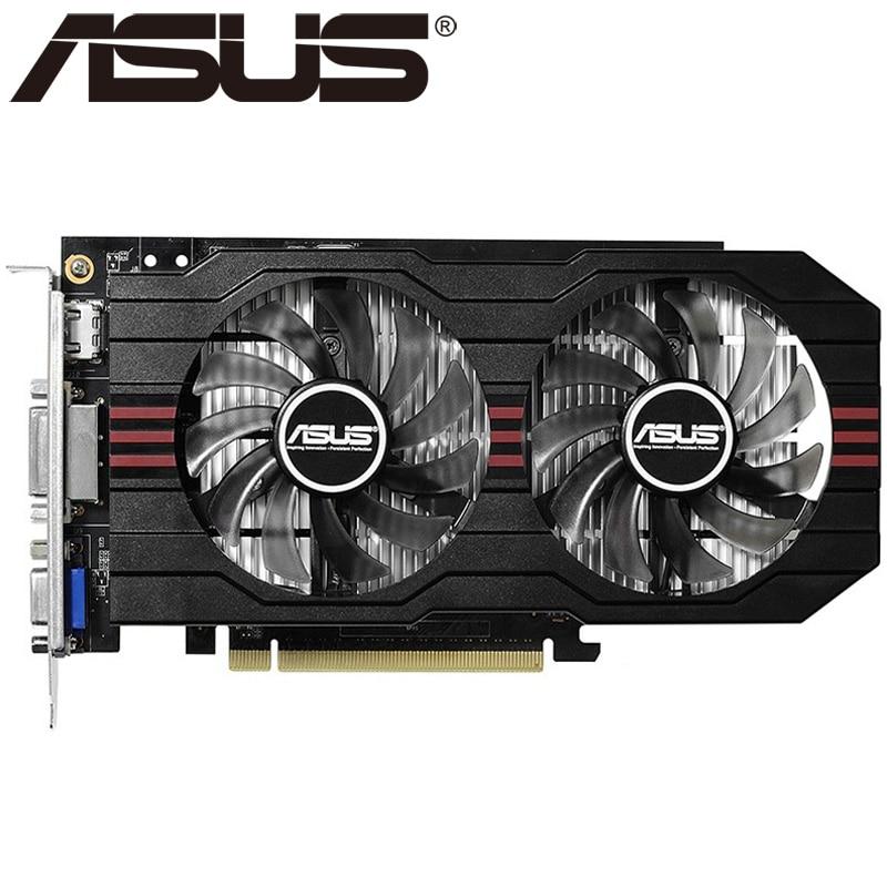 ASUS Графика карты оригинальный GTX 750 1 ГБ 128bit GDDR5 видео карты для NVIDIA GeForce GTX750 HDMI DVI используются VGA карты на продажу