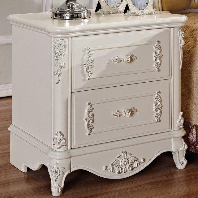 European wood ivory white minimalist style bedroom bedside mini storage small bedside cabinet