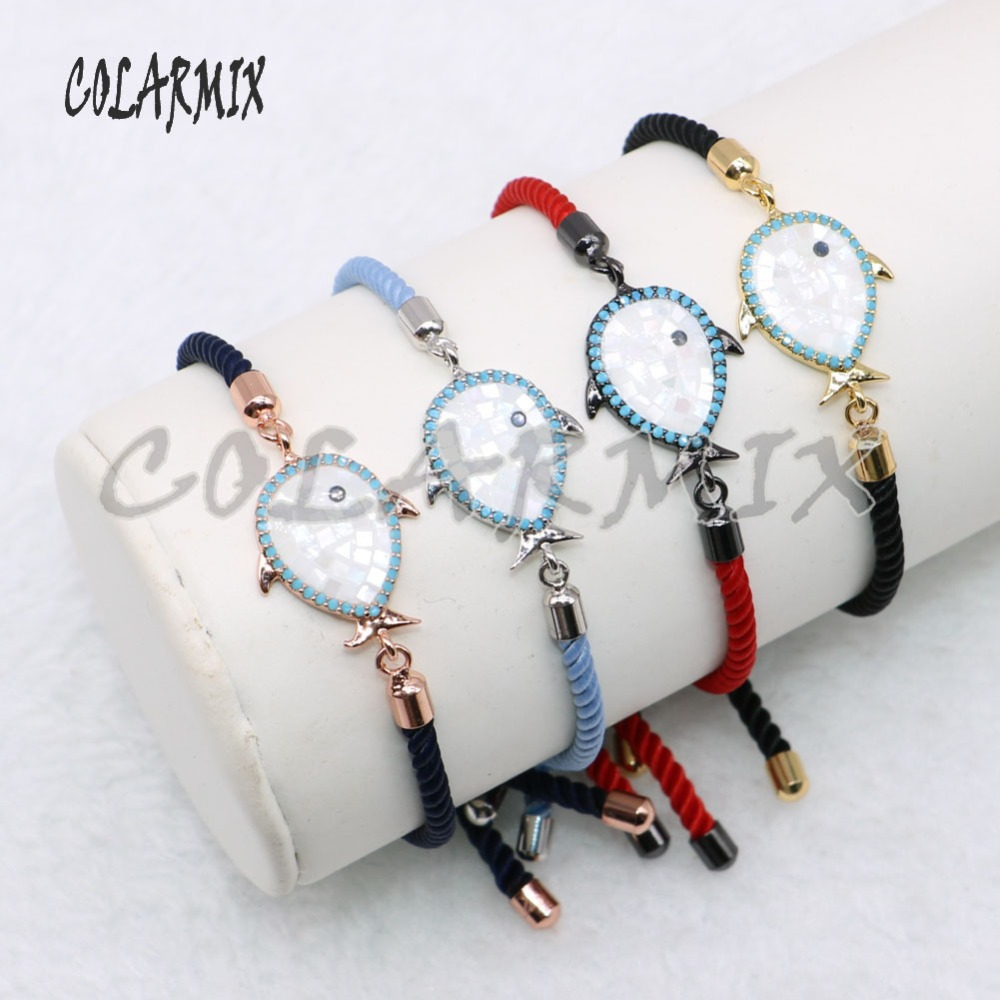 Wholesale shell fish charms rope bracelet Mix color cute tiny fish jewelry charms fashion jewelry gift