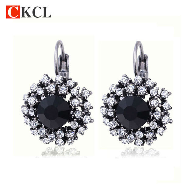 Vintage Crystal Rhinestone Clip On Earrings For Women Fashion Accessories Silver Plated Multicolor Statement Jewelry Whole