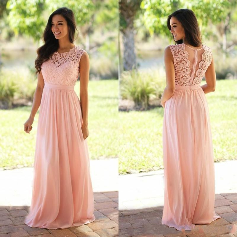 2019 Blush Pink   Bridesmaid     Dresses   Long A-Line Lace Appliques Chiffon Maid of Honor   Dress   Wedding Guest Party Gowns Cheap