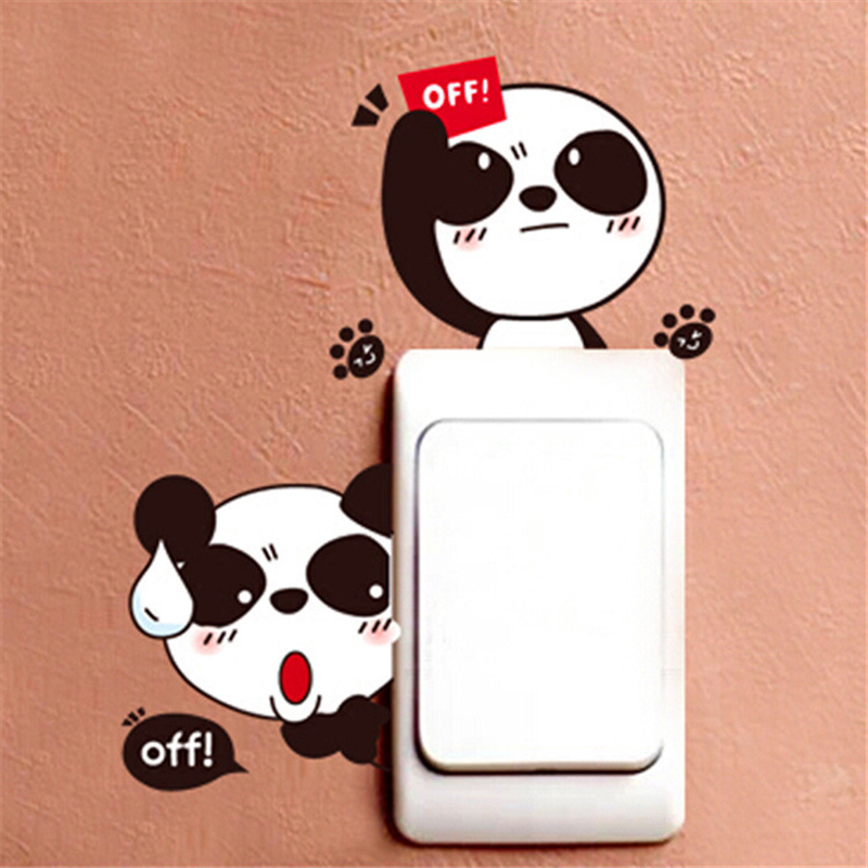 Cartoon Cute Lovely Black White Panda Socket Switch Wall Sticker Vinyl Decals Home Decor Animal Stickers On The Wall Removable