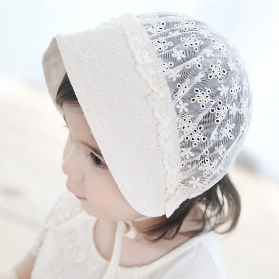 Korean New Mesh Hollow Children Headband Embroidery Princess Hat Child Basin Flower Hair Accessories 5pcs a