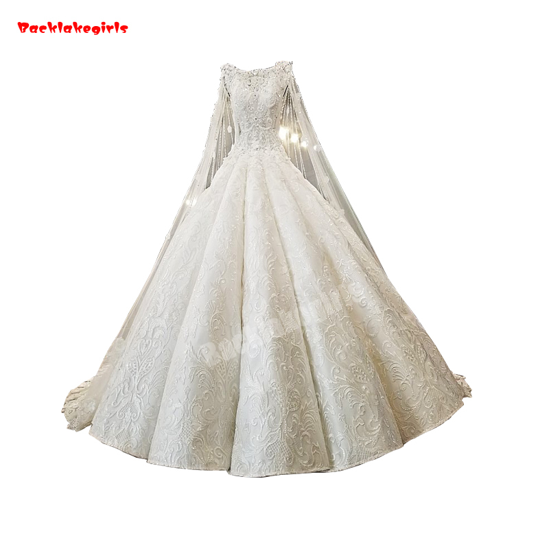 02174 Real Picture High Quality Long Lace Shawl Muslin White Wedding Dress Sleeveless Crystal Appliqued Long Train Ball Gown