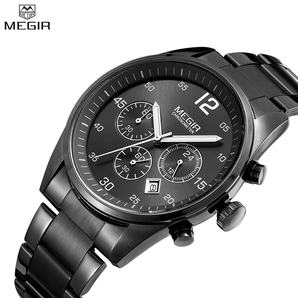 MEGIR Watches Men Multifunction Military Watch Chronograph Function Black Full Steel Luxury Watch Men Army Watch
