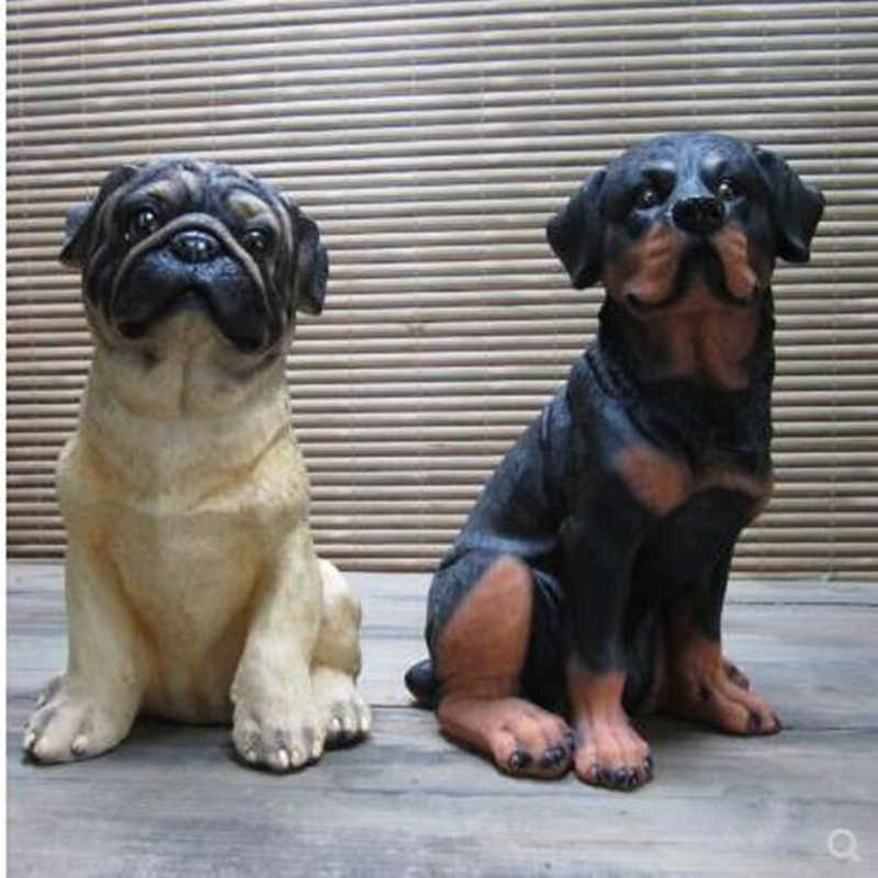 Pug and Rottweiler, artificial dog statue, home desk decoration crafts, home garden decoration ornaments