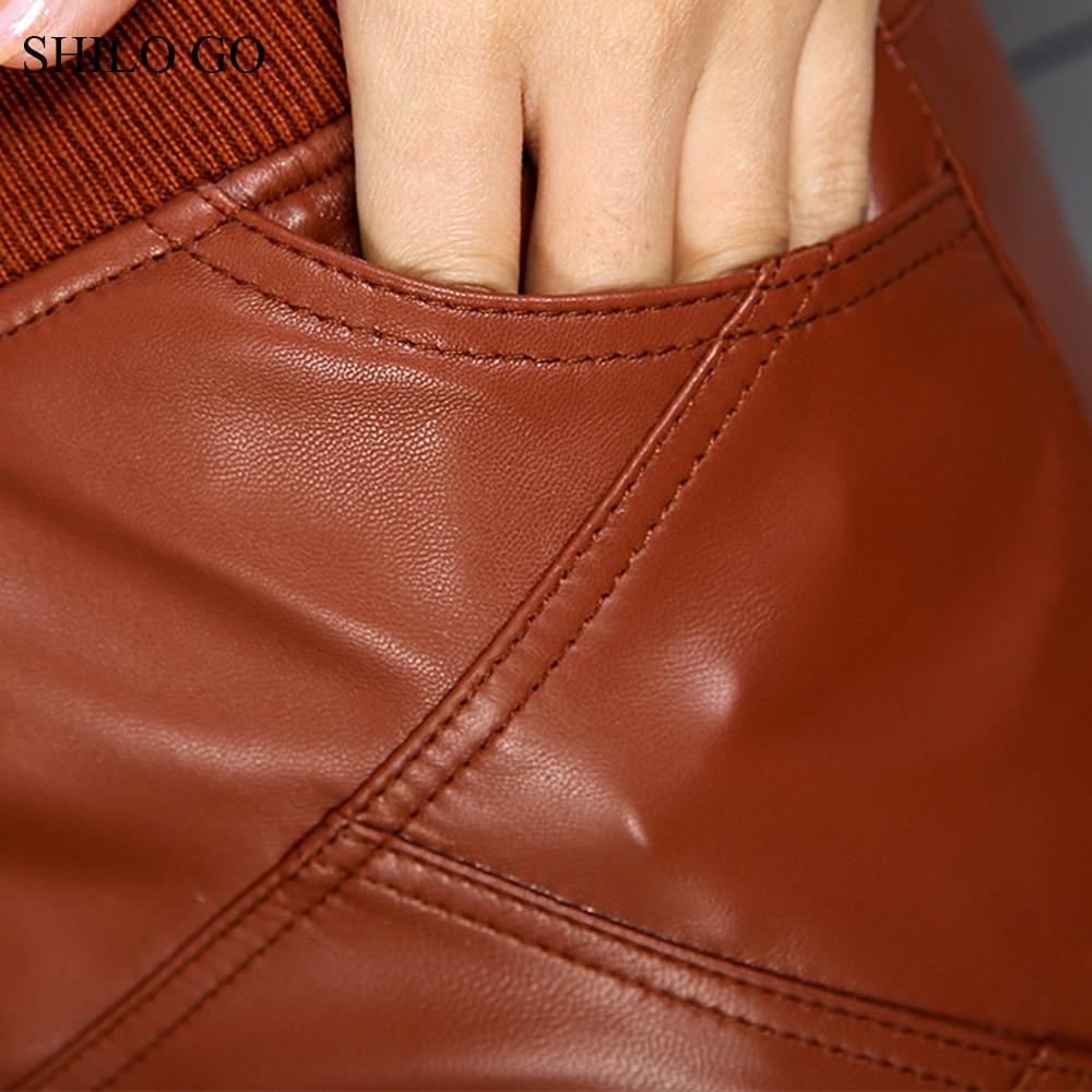 Genuino Otoño 3 Mujer Falda Alta Elástico Corta 1 Moda Piel Cuero Oveja De Ol Cintura Oficina 2 Lápiz BEBqwFgX