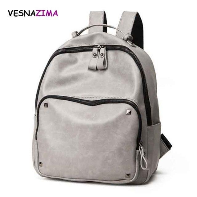 Vesnazima Rivet Backpack Women PU Leather Backpacks For Teenage Girls School  Bags Fashion Vintage Solid Shoulder Bag Pink WM11X 59090520d589c