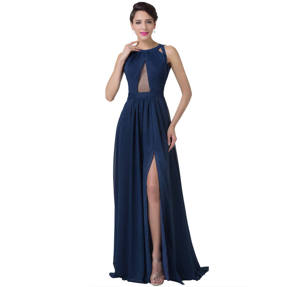Grace Karin Navy Blue Evening Dress Women Fashion Backless Split Special Long Evening Gown Elegant Special Occasion Dress 2017 11