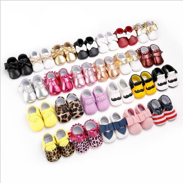 Hot sale 28 colors fringe PU leather Baby Moccasins shoes baby Boys and Girls Soft Soled shoes big bow crib shoes