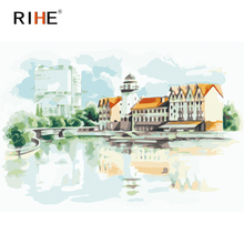 RIHE Lakeside House Diy Painting By Numbers Cloud Oil On Canvas Hand Painted Cuadros Decoracion Acrylic Paint Wall Art