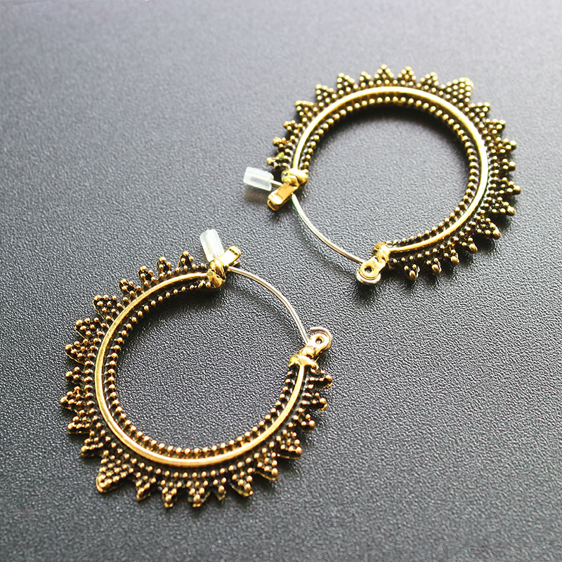 ISINYEE Vintage Round Small Hoop Earrings For Women Girls Antique Tibetan Gold Silver Circle Ear Bohe Ethnic Indian Jewelry