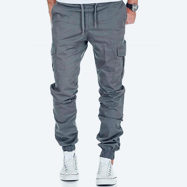 Fashion Basic Solid Elastic Waist Trousers Casual Pockets High quality Mens Sweatpants
