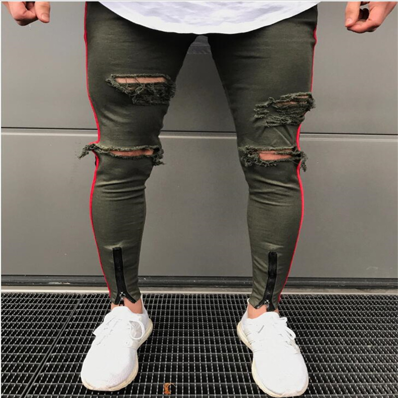 American Style High Street Men's Jeans Slim Personality Ripped Knee Bottom Zipper Small Feet Long Cotton Hole Pants Dropshipping