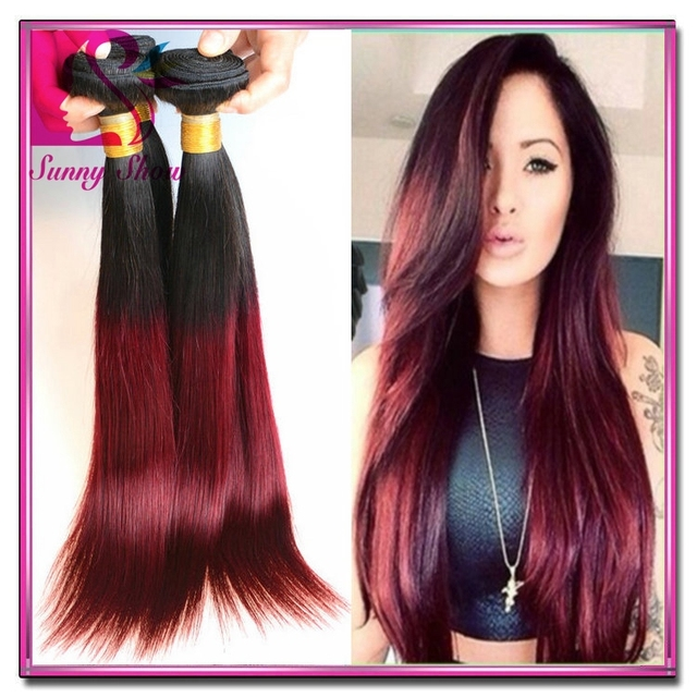 7a Cambodian Ombre Hair Extensions Straight Two Tone Human Hair