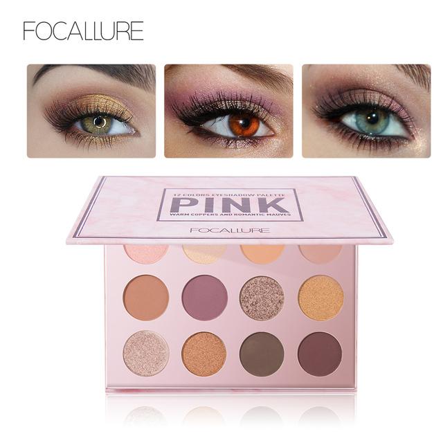 FOCALLURE Eyeshadow 12 Colors Matte Shimmer Glitter Easy to Wear Eye Shadow Palette Maquiagem Profissional Completa Make Up
