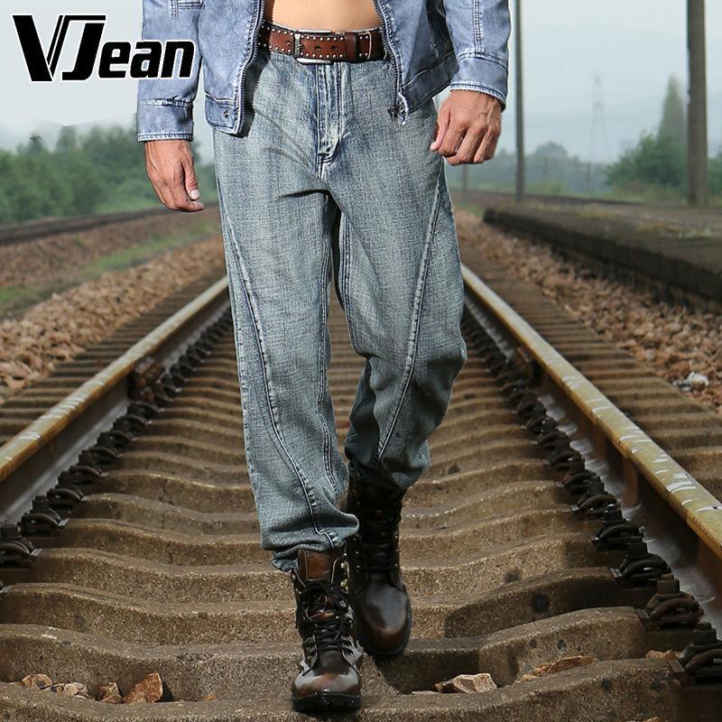 V JEAN  Men's Partition-Cut  Vintage Straight  Leg Jean #9C105 jean paul gaultier vintage двубортное пальто