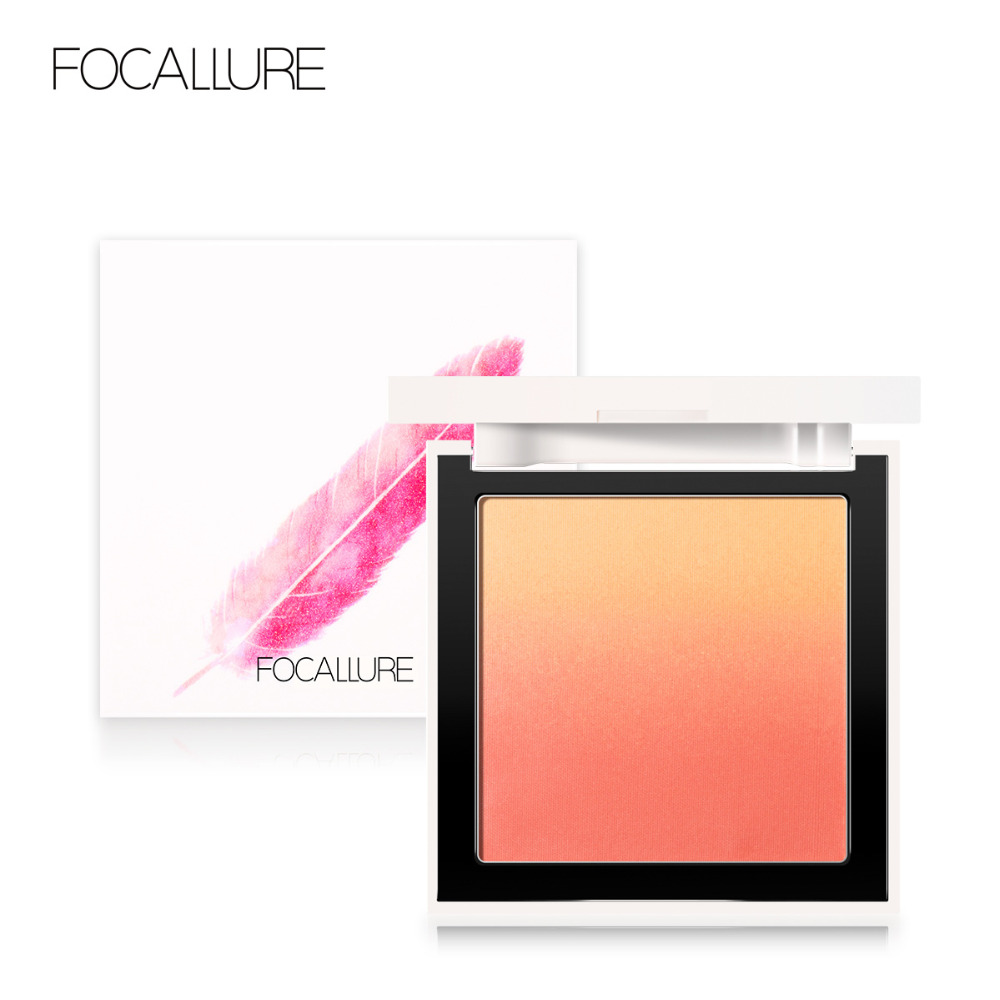 FOCALLURE New Color Face Blush Makeup Silky Powder Natural Cheek Face Blusher Powder Rouge With Mirror Blusher Palette